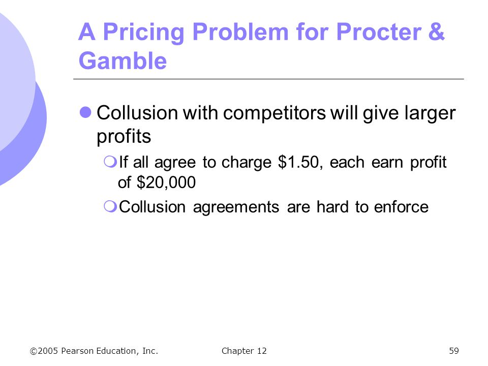 ©2005 Pearson Education, Inc. Chapter 1259 A Pricing Problem for Procter & Gamble Collusion with competitors will give larger profits  If all agree t
