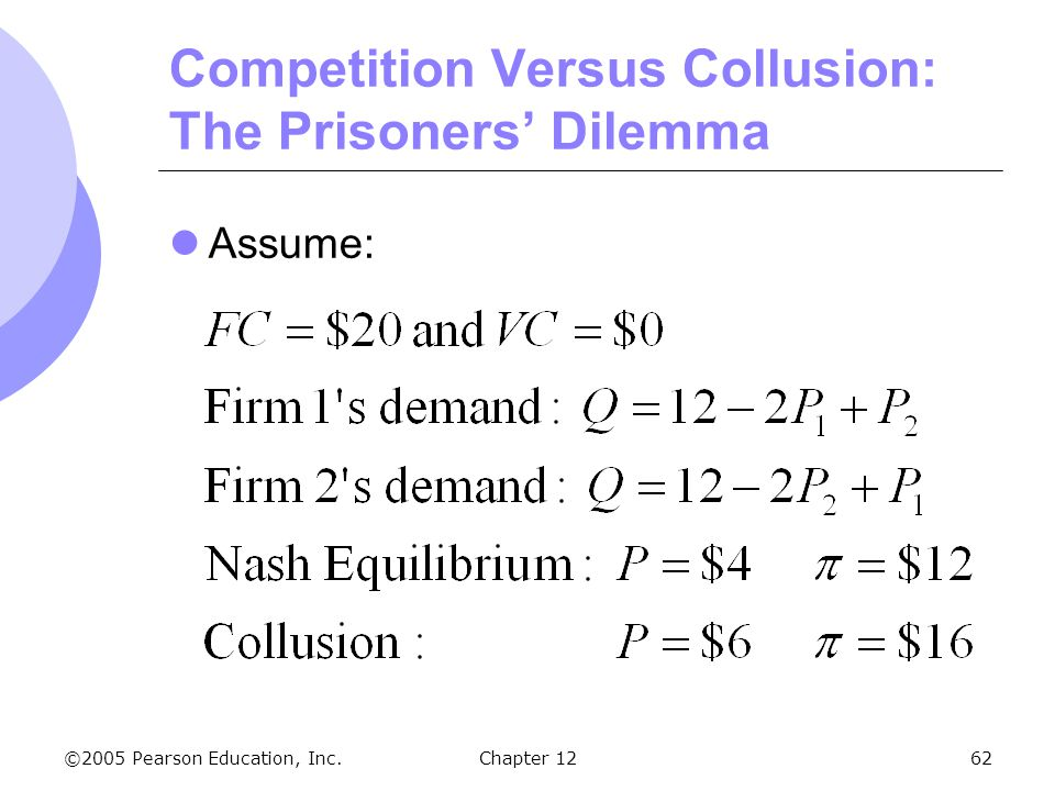 ©2005 Pearson Education, Inc. Chapter 1262 Competition Versus Collusion: The Prisoners' Dilemma Assume: