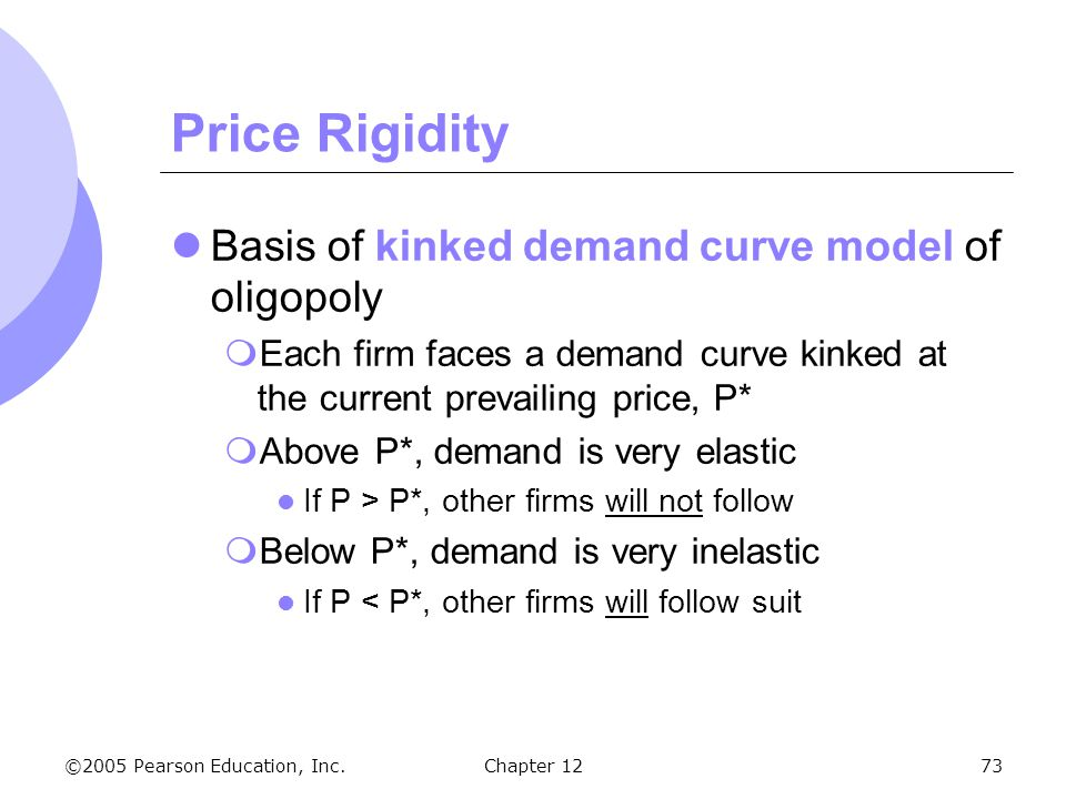 ©2005 Pearson Education, Inc. Chapter 1273 Price Rigidity Basis of kinked demand curve model of oligopoly  Each firm faces a demand curve kinked at t