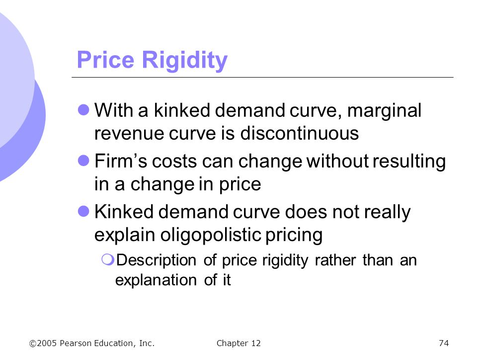 ©2005 Pearson Education, Inc. Chapter 1274 Price Rigidity With a kinked demand curve, marginal revenue curve is discontinuous Firm's costs can change