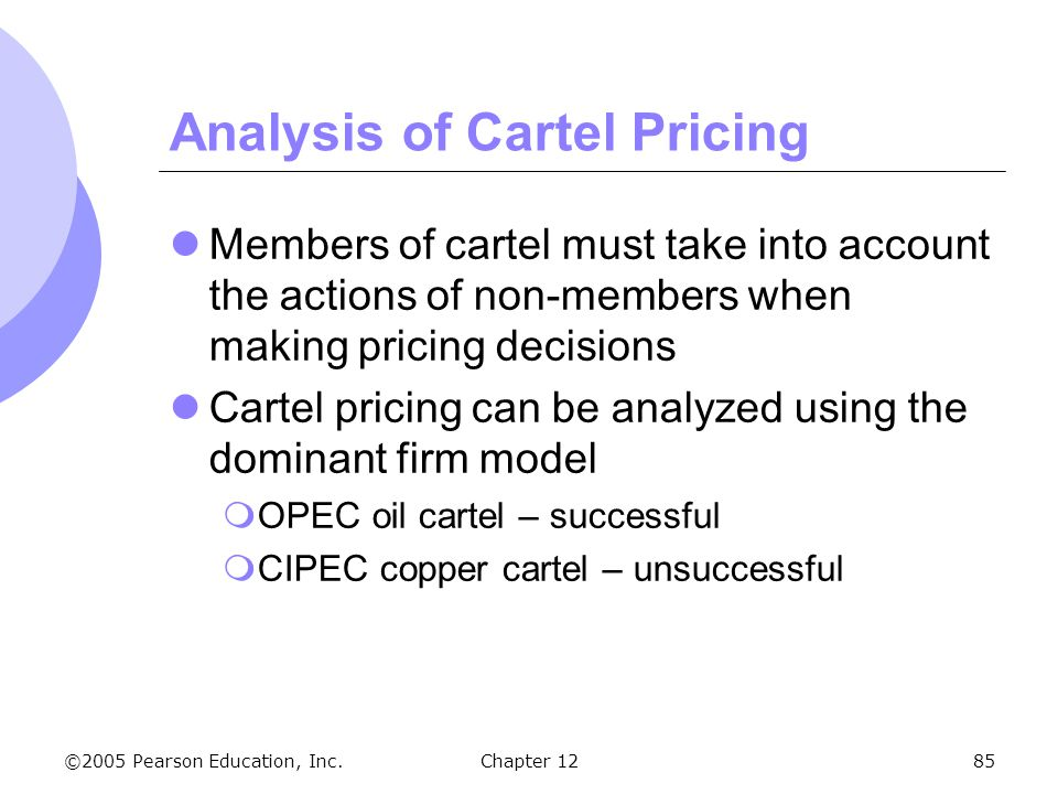 ©2005 Pearson Education, Inc. Chapter 1285 Analysis of Cartel Pricing Members of cartel must take into account the actions of non-members when making