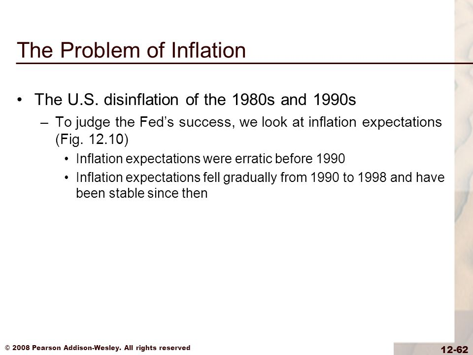 © 2008 Pearson Addison-Wesley. All rights reserved 12-62 The Problem of Inflation The U.S.