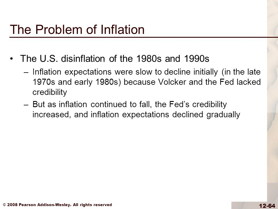 © 2008 Pearson Addison-Wesley. All rights reserved 12-64 The Problem of Inflation The U.S.
