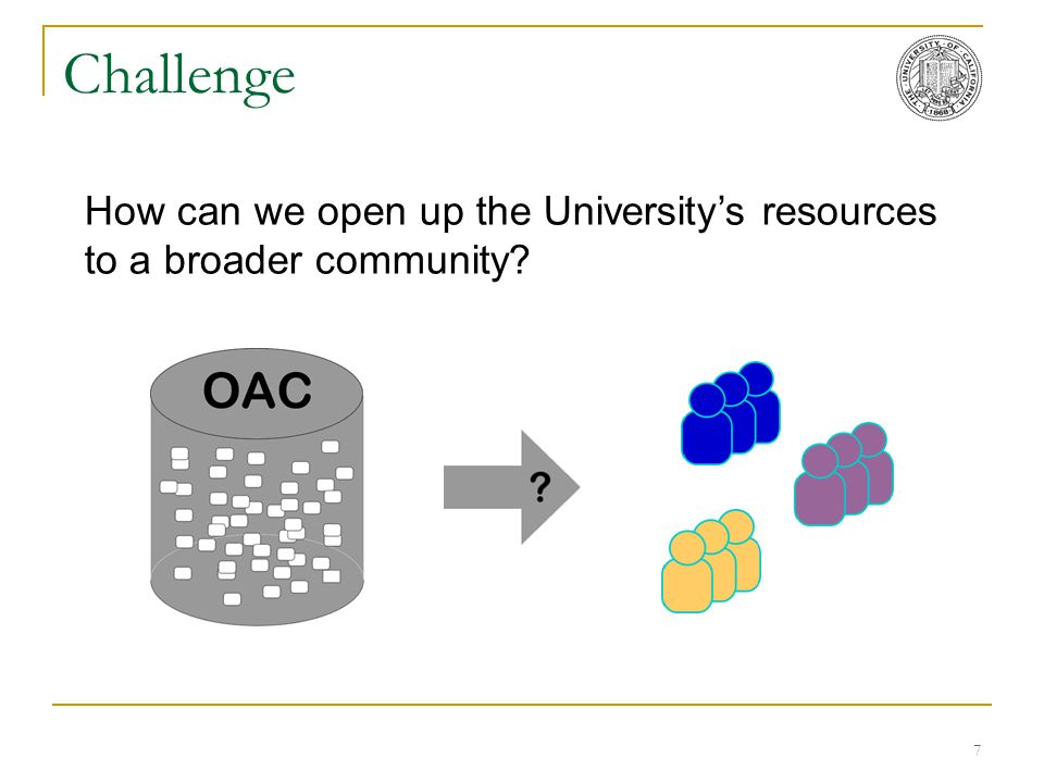 7 Challenge How can we open up the University's resources to a broader community?