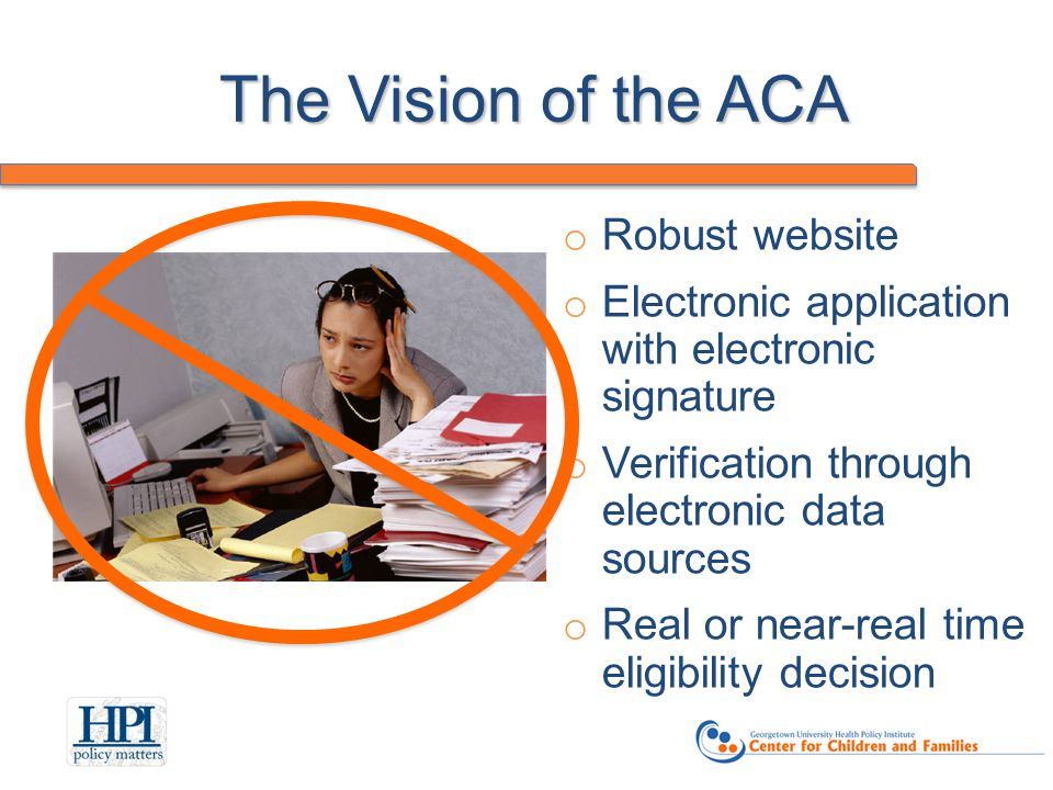 The Vision of the ACA o Robust website o Electronic application with electronic signature o Verification through electronic data sources o Real or near-real time eligibility decision