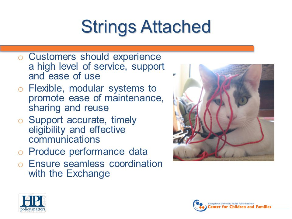 Strings Attached o Customers should experience a high level of service, support and ease of use o Flexible, modular systems to promote ease of maintenance, sharing and reuse o Support accurate, timely eligibility and effective communications o Produce performance data o Ensure seamless coordination with the Exchange