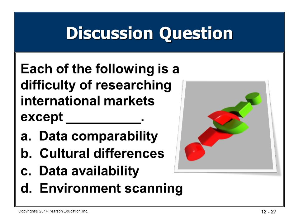 Copyright © 2014 Pearson Education, Inc. 12 - 27 Discussion Question Each of the following is a difficulty of researching international markets except