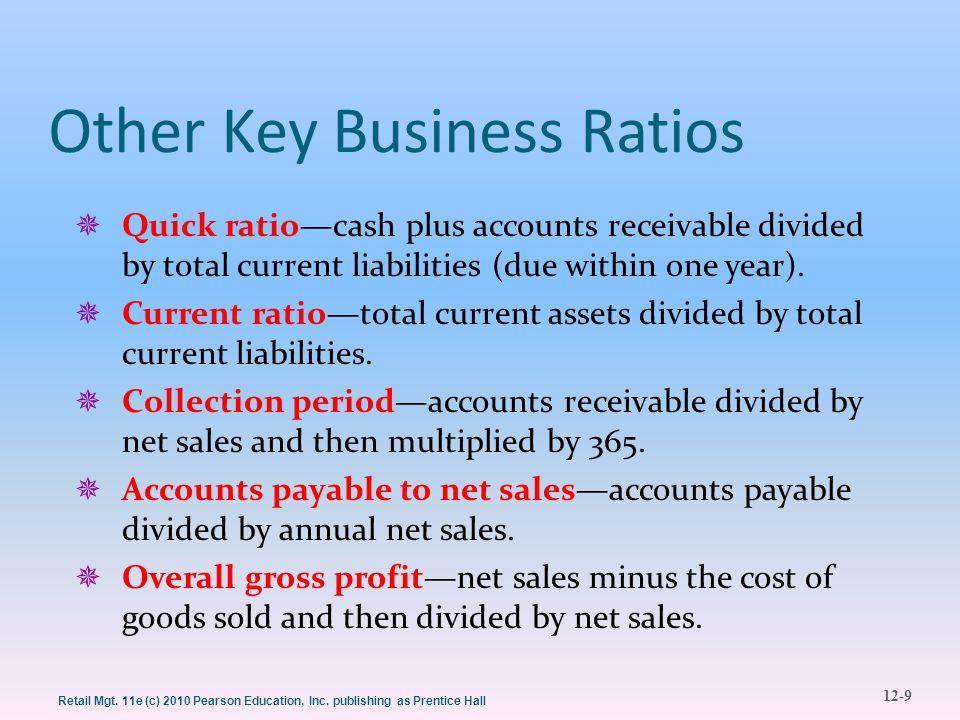 12-9 Retail Mgt. 11e (c) 2010 Pearson Education, Inc. publishing as Prentice Hall Other Key Business Ratios  Quick ratio—cash plus accounts receivabl