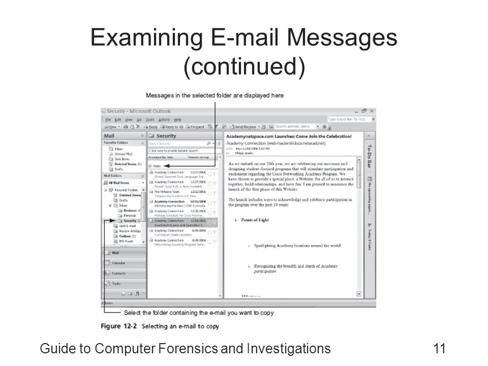 Guide to Computer Forensics and Investigations11 Examining E-mail Messages (continued)