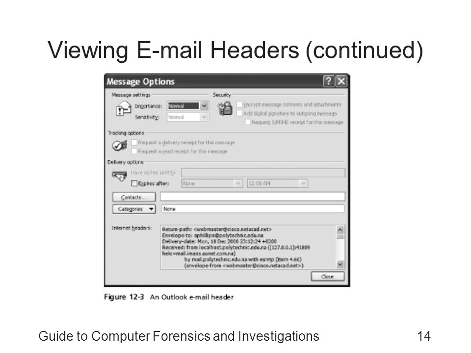 Guide to Computer Forensics and Investigations14 Viewing E-mail Headers (continued)