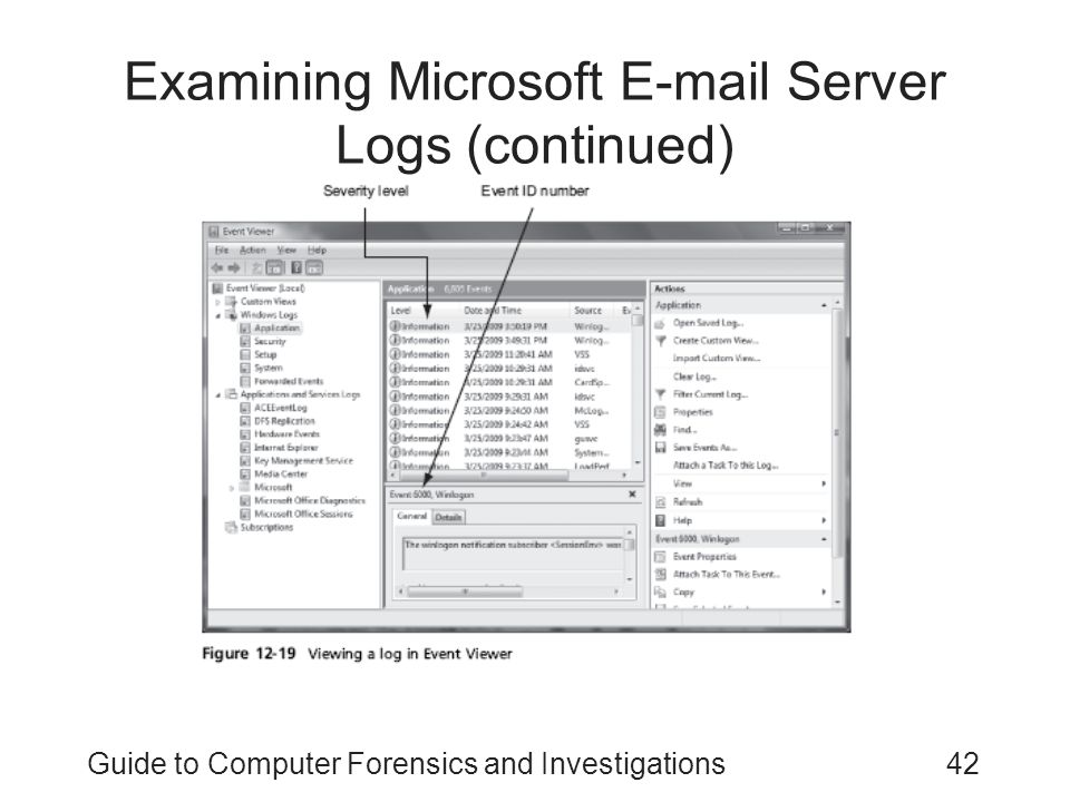Guide to Computer Forensics and Investigations42 Examining Microsoft E-mail Server Logs (continued)
