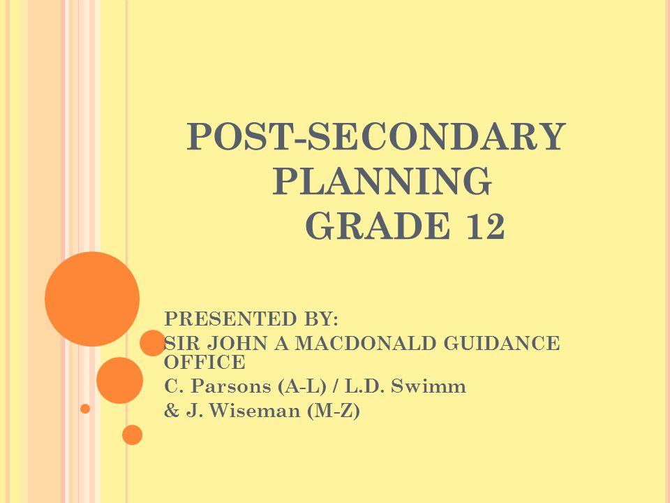 POST-SECONDARY PLANNING GRADE 12 PRESENTED BY: SIR JOHN A MACDONALD GUIDANCE OFFICE C.
