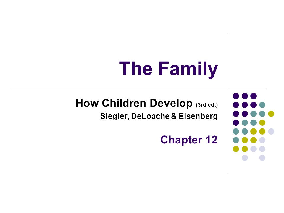 The Family How Children Develop (3rd ed.) Siegler, DeLoache & Eisenberg Chapter 12