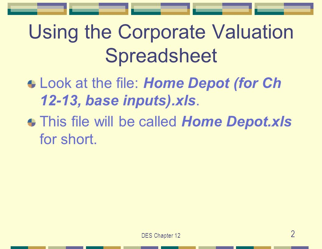 DES Chapter 12 3 The valuation spreadsheet has seven interrelated worksheets, each of which performs an essential function: (1) Proj & Val (2) Inputs (3) WACC (4) Hist Analys (5) Condensed (6) Comprehensive (7) Actual (next slide) Steps to estimate value using the Corporate Valuation Spreadsheet
