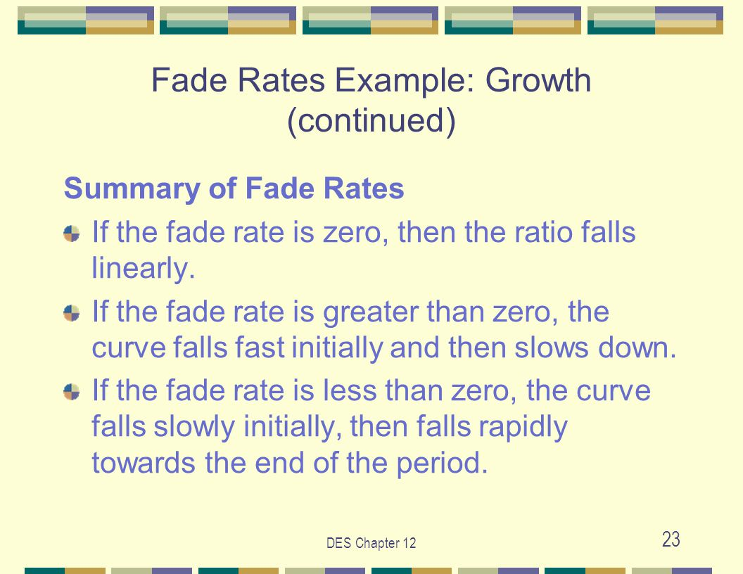 DES Chapter 12 23 Summary of Fade Rates If the fade rate is zero, then the ratio falls linearly.