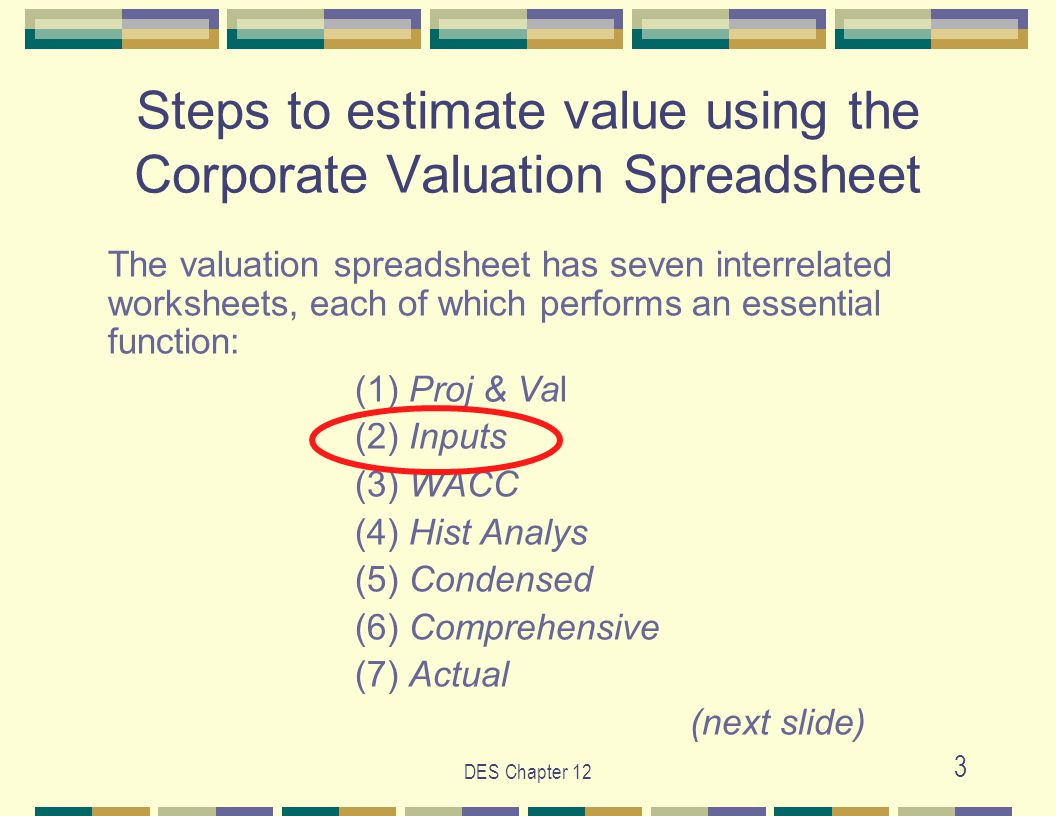 DES Chapter 12 3 The valuation spreadsheet has seven interrelated worksheets, each of which performs an essential function: (1) Proj & Val (2) Inputs