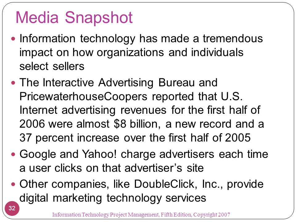 Media Snapshot Information technology has made a tremendous impact on how organizations and individuals select sellers The Interactive Advertising Bureau and PricewaterhouseCoopers reported that U.S.