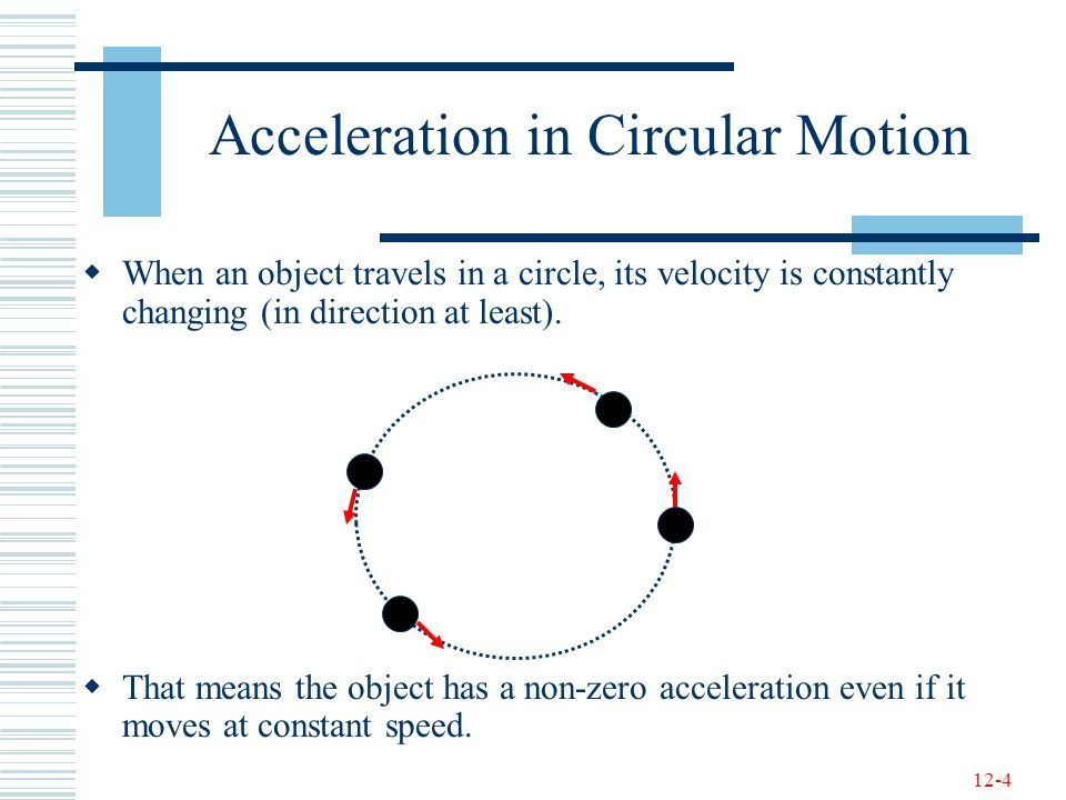 12-4 Acceleration in Circular Motion  When an object travels in a circle, its velocity is constantly changing (in direction at least).  That means t