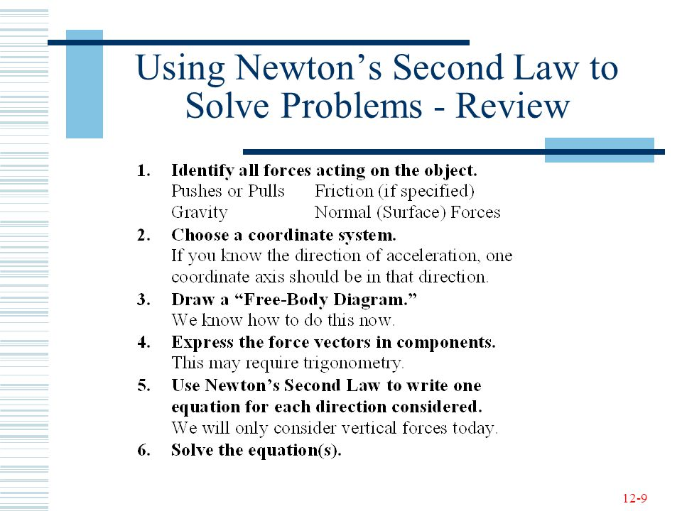 12-9 Using Newton's Second Law to Solve Problems - Review