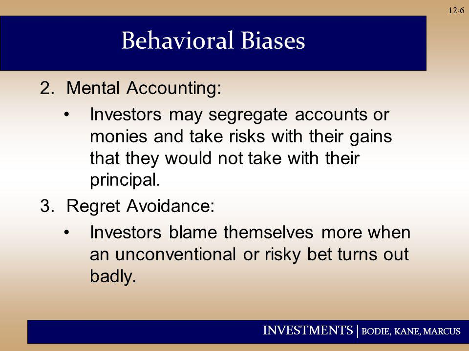 INVESTMENTS | BODIE, KANE, MARCUS 12-7 Behavioral Biases 4.Prospect Theory: –Conventional view: Utility depends on level of wealth.