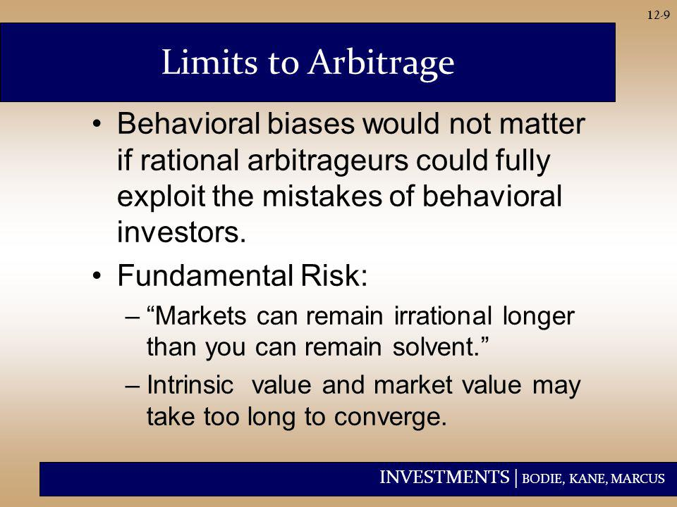 INVESTMENTS | BODIE, KANE, MARCUS 12-10 Limits to Arbitrage Implementation Costs: –Transactions costs and restrictions on short selling can limit arbitrage activity.