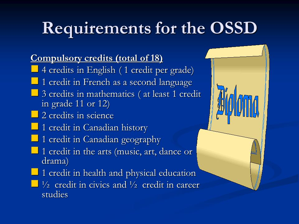 Factors to be Considered When Choosing Courses for Gr. 12 Requirements for earning the OSSD Requirements for earning the OSSD Requirements for post-se