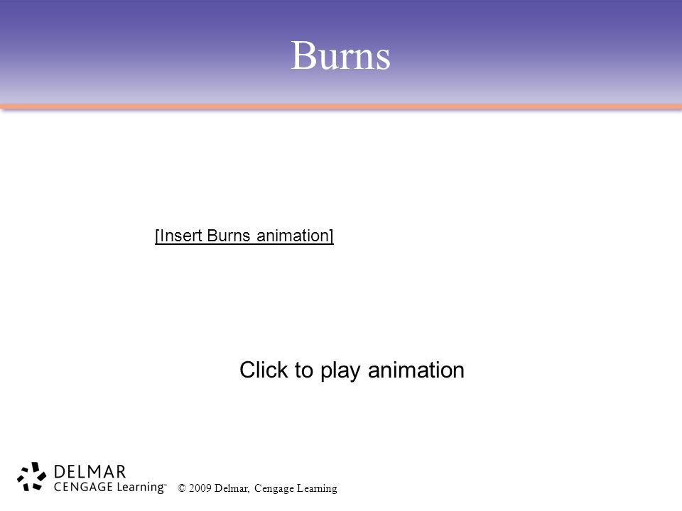 © 2009 Delmar, Cengage Learning Burns Click to play animation [Insert Burns animation]