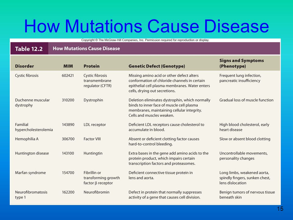 15 How Mutations Cause Disease