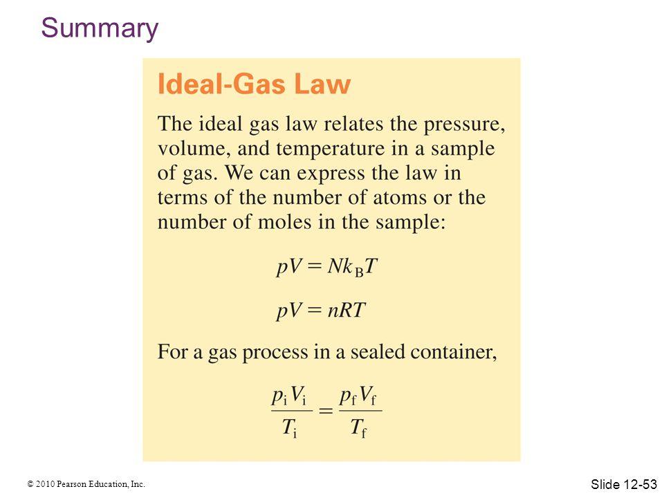 © 2010 Pearson Education, Inc. Summary Slide 12-53