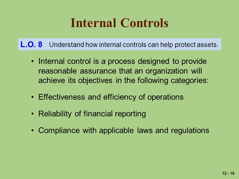 Internal Controls L.O.8 Understand how internal controls can help protect assets.