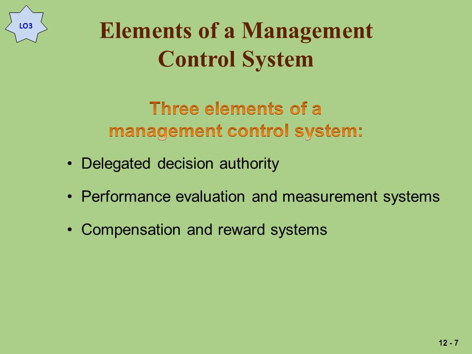 Elements of a Management Control System LO3 Delegated decision authority Performance evaluation and measurement systems Compensation and reward systems 12 - 7