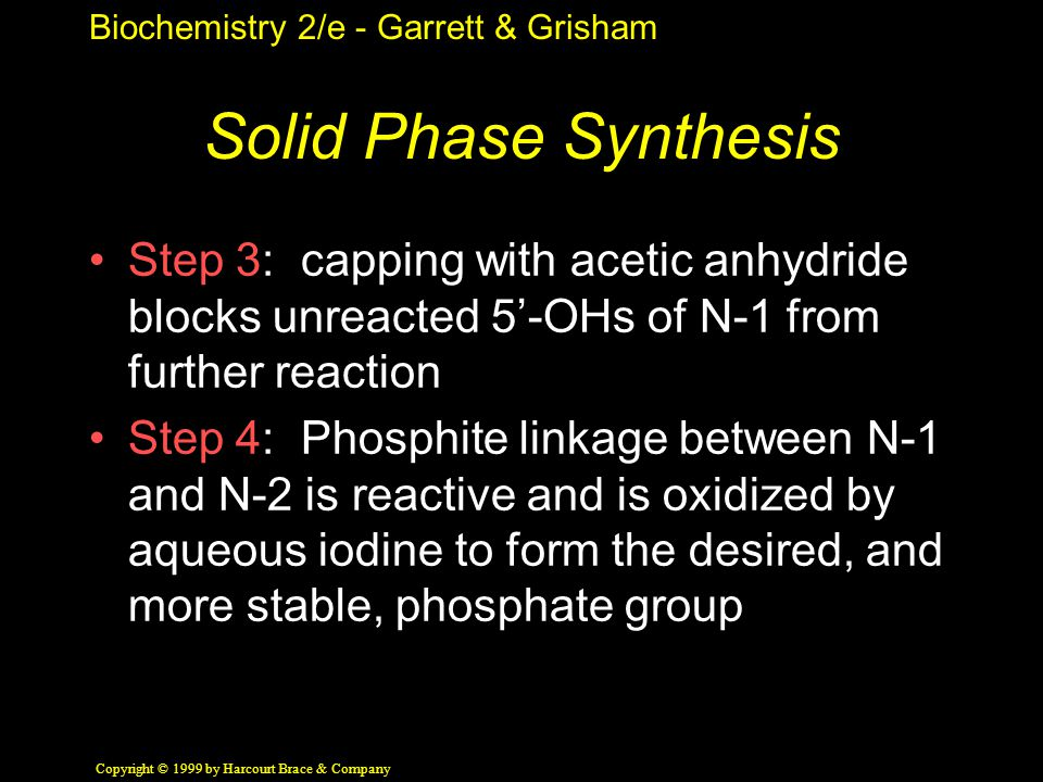 Biochemistry 2/e - Garrett & Grisham Copyright © 1999 by Harcourt Brace & Company Solid Phase Synthesis Step 3: capping with acetic anhydride blocks unreacted 5'-OHs of N-1 from further reaction Step 4: Phosphite linkage between N-1 and N-2 is reactive and is oxidized by aqueous iodine to form the desired, and more stable, phosphate group