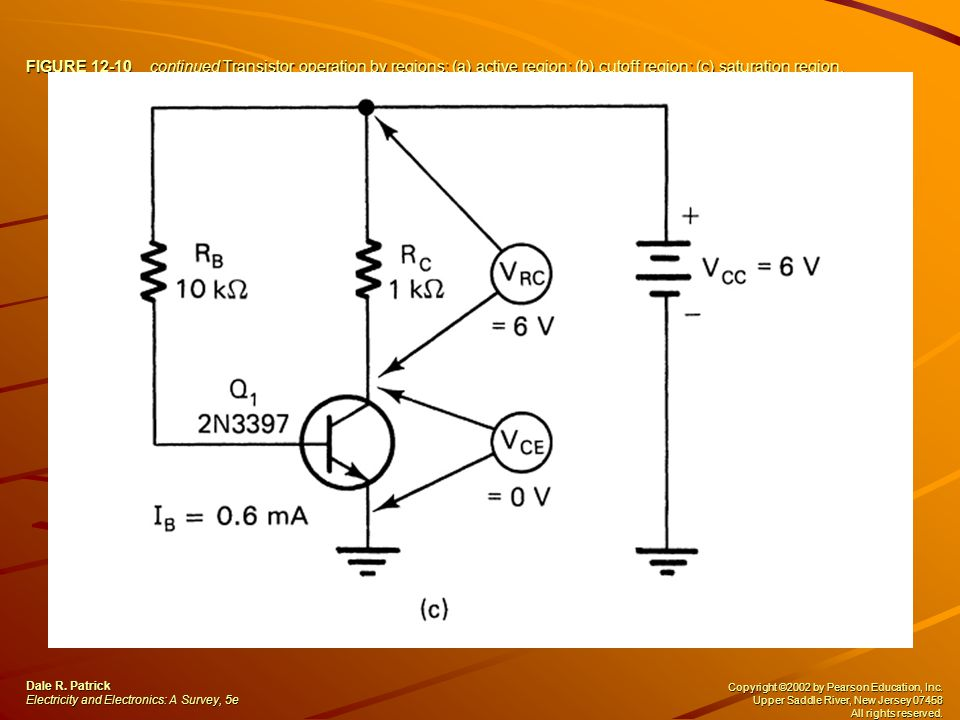 FIGURE 12-10 continued Transistor operation by regions: (a) active region; (b) cutoff region; (c) saturation region. Dale R. Patrick Electricity and E