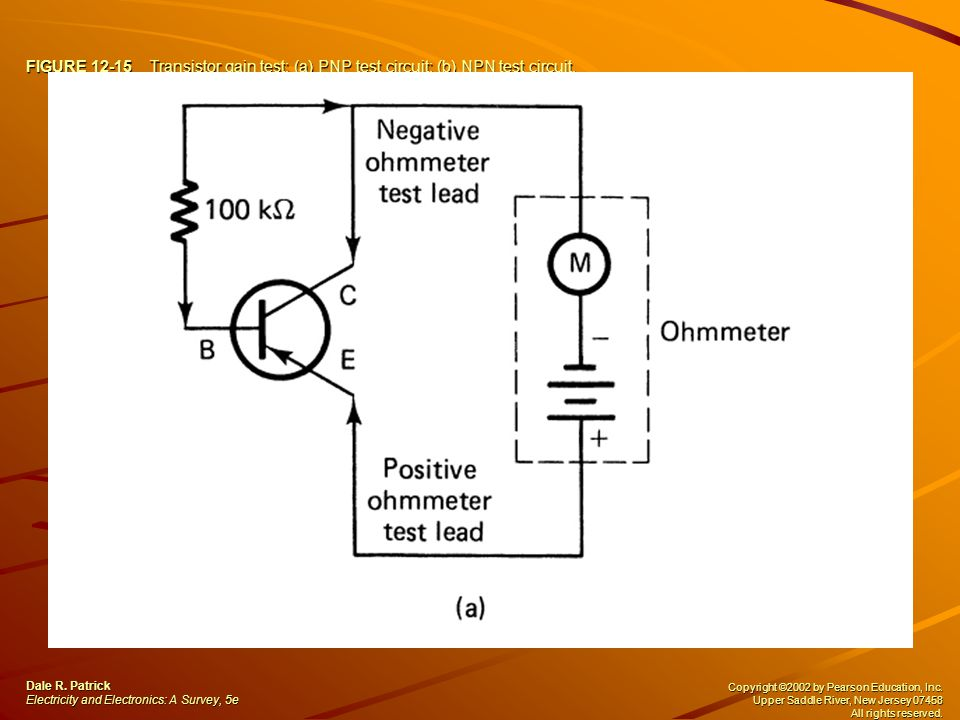 FIGURE 12-15 Transistor gain test: (a) PNP test circuit; (b) NPN test circuit. Dale R. Patrick Electricity and Electronics: A Survey, 5e Copyright ©20