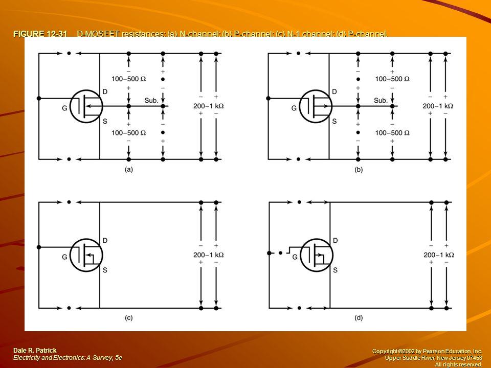 FIGURE 12-31 D-MOSFET resistances: (a) N-channel; (b) P-channel; (c) N-1 channel; (d) P-channel.