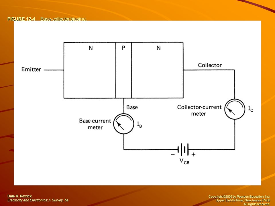 FIGURE 12-4 Base-collector biasing. Dale R. Patrick Electricity and Electronics: A Survey, 5e Copyright ©2002 by Pearson Education, Inc. Upper Saddle
