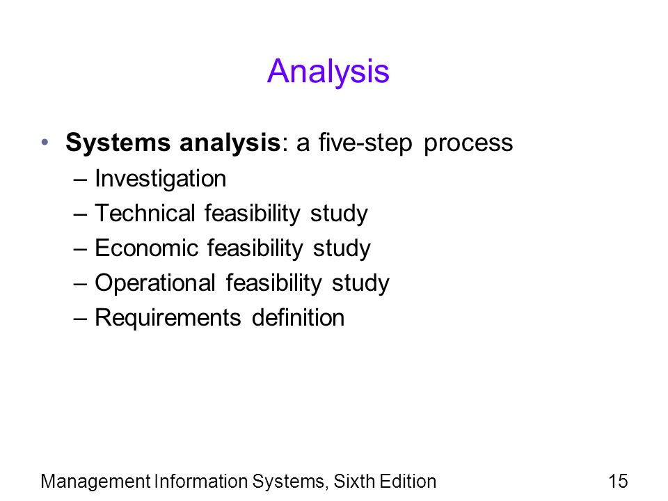 Management Information Systems, Sixth Edition15 Analysis Systems analysis: a five-step process –Investigation –Technical feasibility study –Economic f