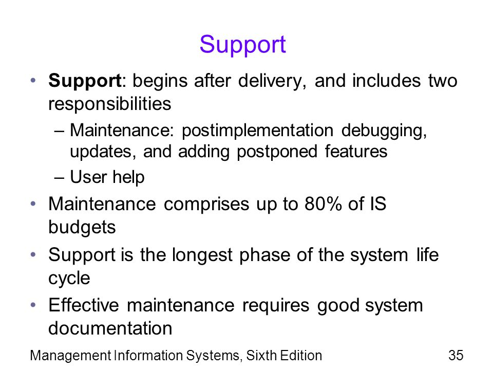 Management Information Systems, Sixth Edition35 Support Support: begins after delivery, and includes two responsibilities –Maintenance: postimplementa