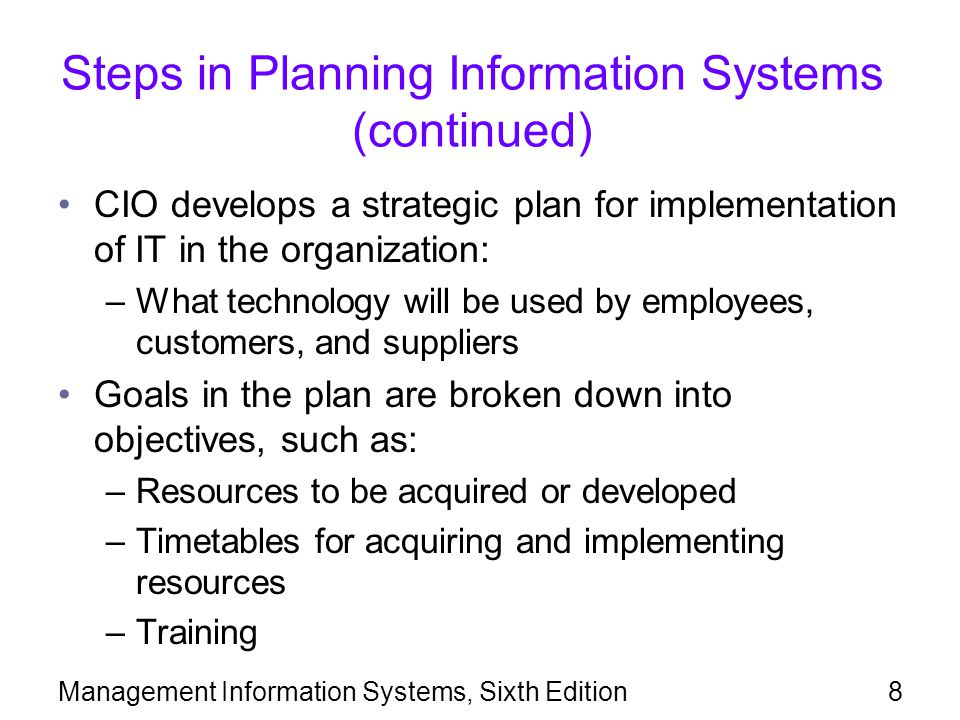Management Information Systems, Sixth Edition39 Agile Methods (continued) Major advantage of agile methods: –Fast development of application software Agile method risks include: –Analysis phase is limited or eliminated, increasing the risk of incompatibilities –More emphasis on programming, resulting in less documentation, which may make it difficult or impossible to make later modifications