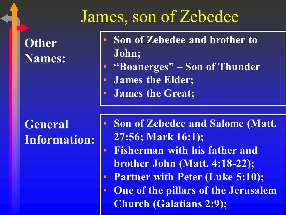 James, son of Zebedee General Information: Other Names: Son of Zebedee and brother to John; Boanerges – Son of Thunder James the Elder; James the Great; Son of Zebedee and Salome (Matt.
