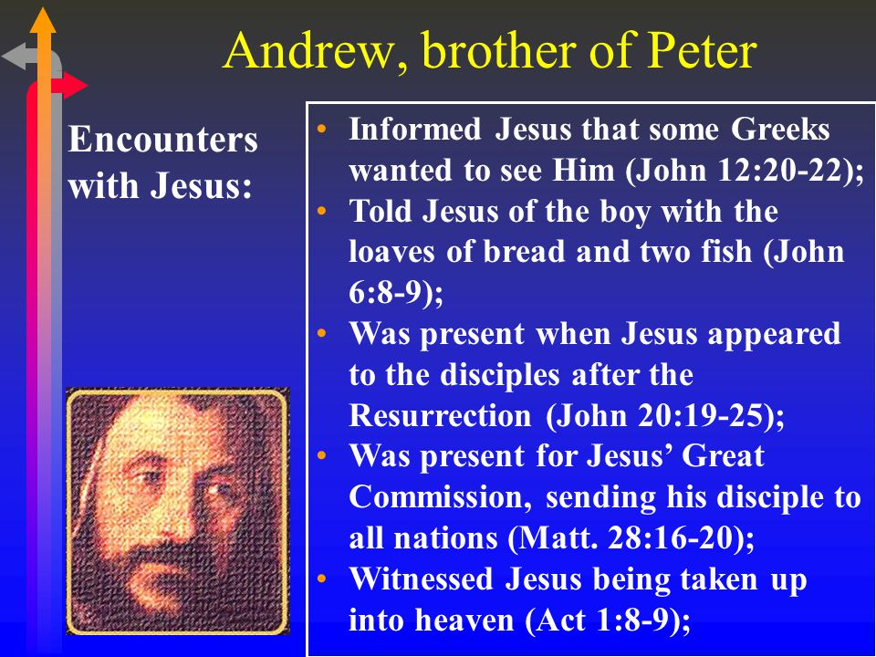 Andrew, brother of Peter Encounters with Jesus: Informed Jesus that some Greeks wanted to see Him (John 12:20-22); Told Jesus of the boy with the loaves of bread and two fish (John 6:8-9); Was present when Jesus appeared to the disciples after the Resurrection (John 20:19-25); Was present for Jesus' Great Commission, sending his disciple to all nations (Matt.