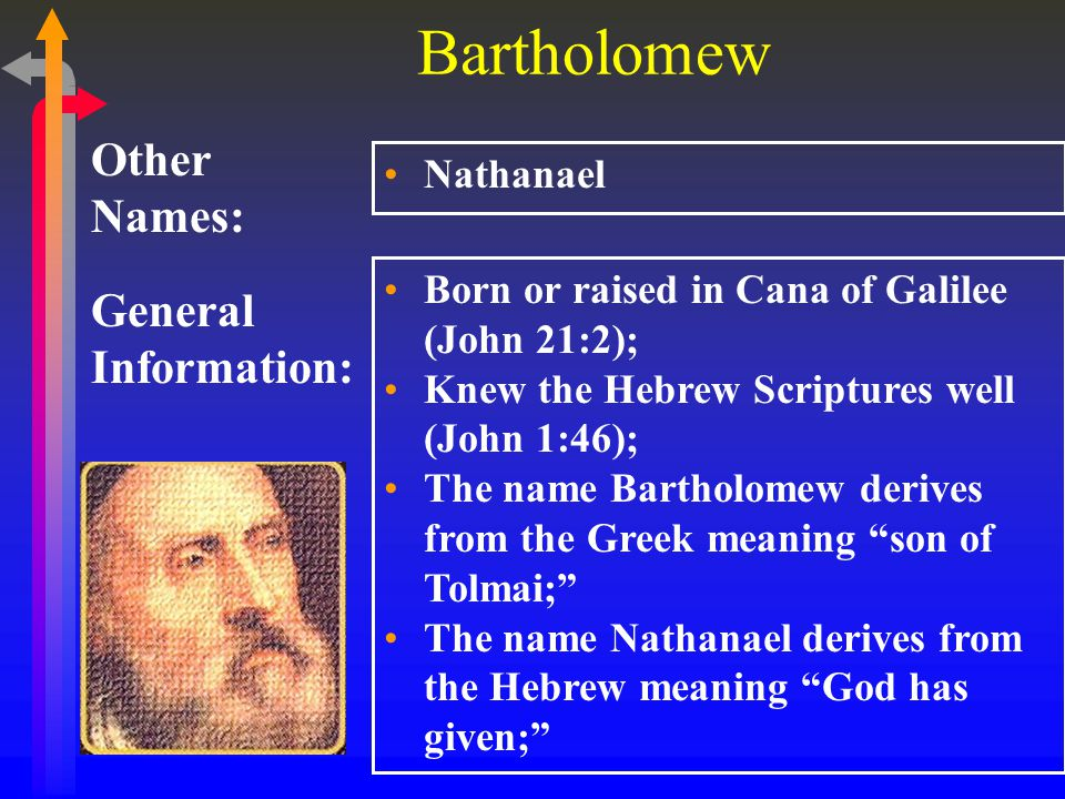 Bartholomew General Information: Other Names: Nathanael Born or raised in Cana of Galilee (John 21:2); Knew the Hebrew Scriptures well (John 1:46); The name Bartholomew derives from the Greek meaning son of Tolmai; The name Nathanael derives from the Hebrew meaning God has given;