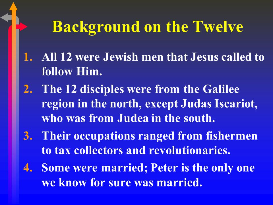 Background on the Twelve 1.All 12 were Jewish men that Jesus called to follow Him.