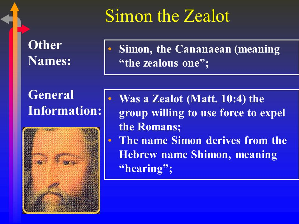 Simon the Zealot General Information: Other Names: Simon, the Cananaean (meaning the zealous one ; Was a Zealot (Matt.