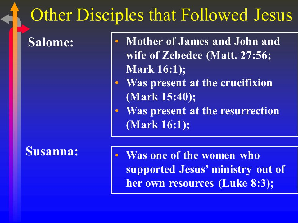 Other Disciples that Followed Jesus Salome: Mother of James and John and wife of Zebedee (Matt.