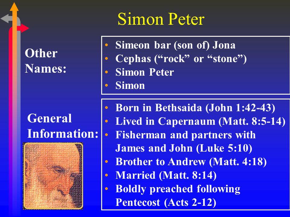 Simon Peter Simeon bar (son of) Jona Cephas ( rock or stone ) Simon Peter Simon Other Names: General Information: Born in Bethsaida (John 1:42-43) Lived in Capernaum (Matt.
