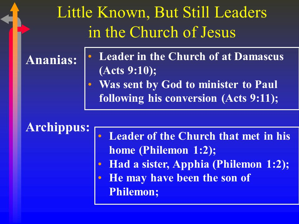 Little Known, But Still Leaders in the Church of Jesus Ananias: Leader in the Church of at Damascus (Acts 9:10); Was sent by God to minister to Paul following his conversion (Acts 9:11); Archippus: Leader of the Church that met in his home (Philemon 1:2); Had a sister, Apphia (Philemon 1:2); He may have been the son of Philemon;