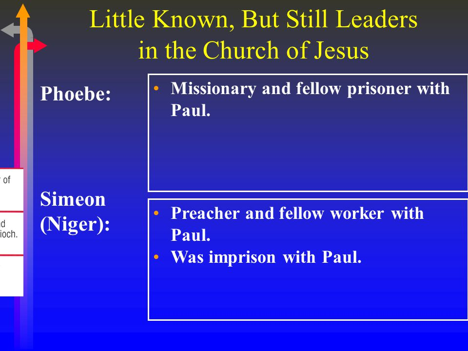 Little Known, But Still Leaders in the Church of Jesus Phoebe: Missionary and fellow prisoner with Paul.