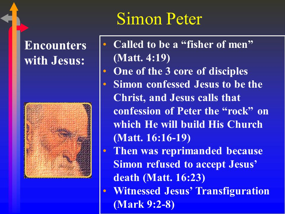 Simon Peter Encounters with Jesus: Was sent to prepare the Last Supper (Luke 22:8) Jesus predicted Peter would deny Him 3 times (Luke 22:31-34) Was with Jesus in the Garden of Gethsemane (Matt.