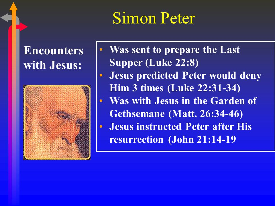 Simon Peter Key Lessons: Traditions: God can forgive sins, even such a terrible sin as denying Jesus; Jesus an strengthen the faith of those who love Him; Papias (2 nd C) recorded that Mark served as Peter's scribe and he wrote the Gospel of Mark based on Peter's testimony; Tradition has it that Peter asked to be crucified upside down; Peter met his death in Rome under the reign of Nero;